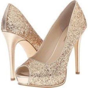Women's GUESS Glitter Gold Stilettos- Prom Formal